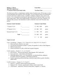 2012-2013 School Year 1 Semester Final Exam Study ... - Period 1