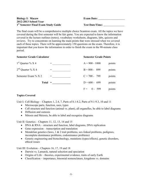 2012-2013 School Year 1 Semester Final Exam Study ... - Period 1