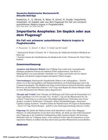 Importierte Anopheles: Im Gepäck oder aus dem ... - Frank Praetorius