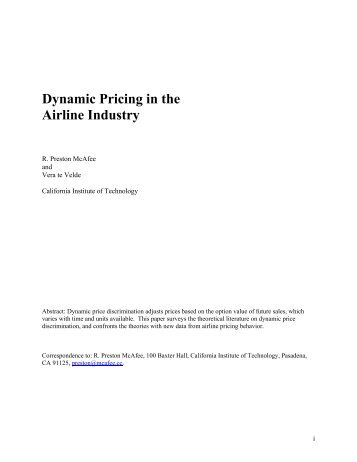 Dynamic Pricing in the Airline Industry - Transtutors