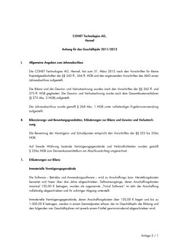 Anlage 3 / 1 CONET Technologies AG, Hennef Anhang für das ...