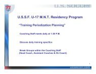 U-17 Men's National Team Training Cycles