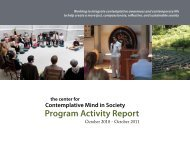Program Activity Report - The Center for Contemplative Mind in ...