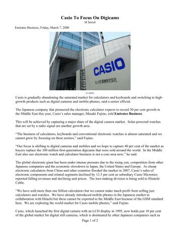 Casio to Phase Out Calculators