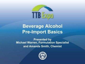 Beverage Alcohol Pre-Import Basics - TTB