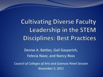 Cultivating Diverse Faculty Leadership in the STEM Disciplines ...