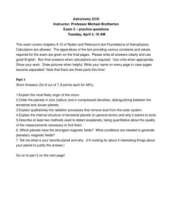 Practice exam 3 (in pdf) - Department of Physics & Astronomy