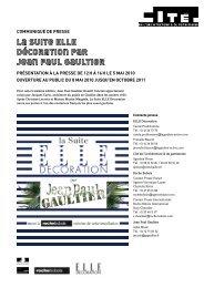 Communiqué de presse Suite ELLE Décoration par Jean Paul Gaultier