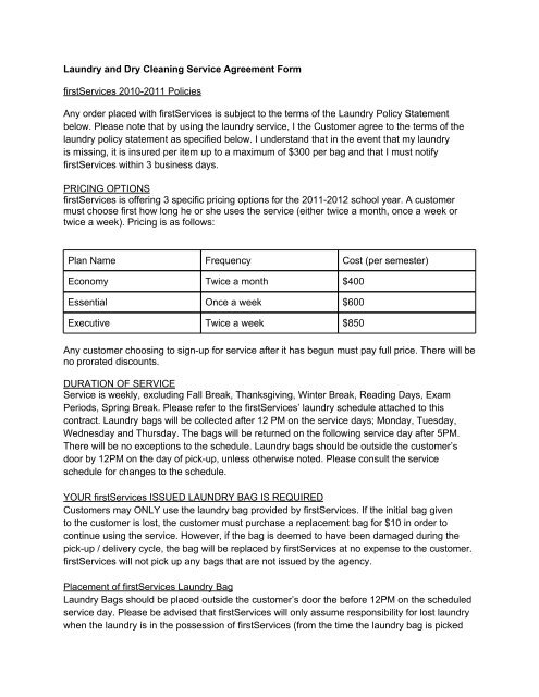Laundry And Dry Cleaning Service Agreement Form