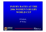 injury rates at the 2006 women's rugby world cup - IRB Player Welfare
