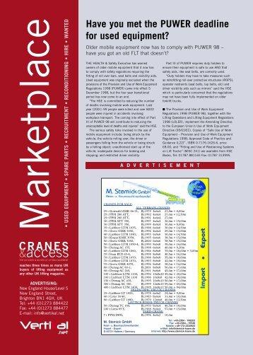 Cranes & Access Apr/May03: Marketplace