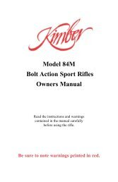 Model 84M Bolt Action Sport Rifles Owners Manual - Kimber