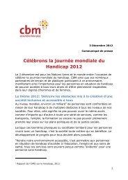 Célébrons la journée mondiale du Handicap 2012 - CBM France