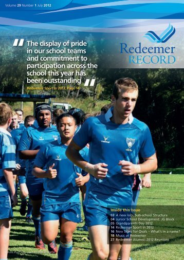 Redeemer Record, July 2012 - Redeemer Lutheran College