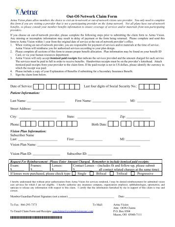 Corrected Claim Form For Aetna - Image Mag
