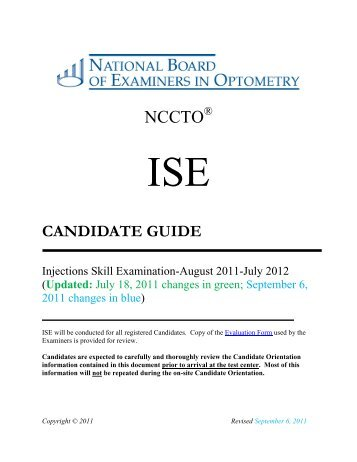 CANDIDATE GUIDE - National Board of Examiners in Optometry