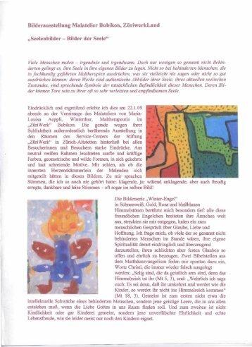 """Bilderausstellung Malatelier Bubikon, ZüriwerkLand """"Seelenbilder ..."""