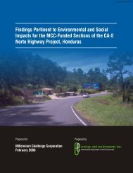 Findings Pertinent to Environmental and Social Impacts for the MCC ...