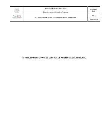 Procedimiento para el Control de Asistencia del Personal - Inicio