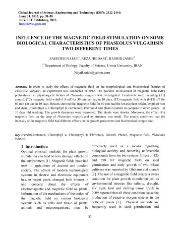 INFLUENCE OF THE MAGNETIC FIELD STIMULATION ... - Gjset.org