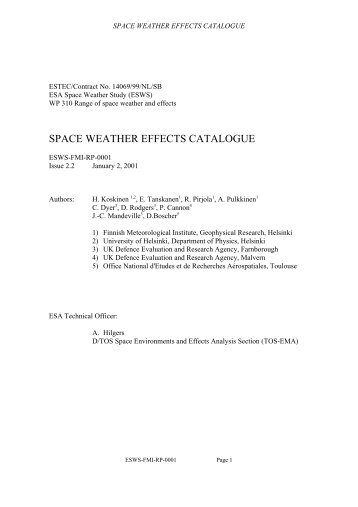 space weather effects catalogue - ESA Space Weather Web Server