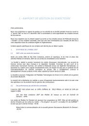 I.- RAPPORT DE GESTION DU DIRECTOIRE - Modelabs