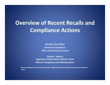 Overview of Recent Recalls and Compliance Actions - CPSC