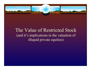 The Value of Restricted Stock - BVMarketData