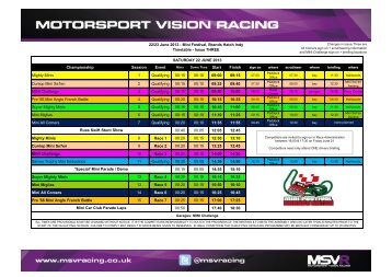 22/23 June 2013 - Mini Festival, Brands Hatch Indy Timetable ...
