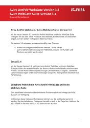 Avira Antivir Webgate Version 3.3 Avira Webgate Suite Version 3.3