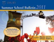 Summer School Bulletin - Emory College - Emory University