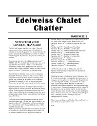 Edelweiss Chalet Chatter March 2012 - Edelweiss Chalet Country ...