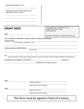 Interspousal Grant Deed  Madera County Library