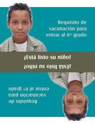 N.C. DHHS: 6th Grade Reminder Postcard for Parents (Spanish)