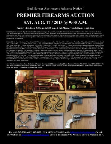 PREMIER FIREARMS AUCTION - Bud Haynes Auction Comapny