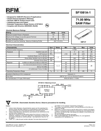 71.00 MHz SAW Filter SF1081A-1 - RF Monolithics, Inc.