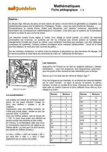 Fiche pédagogique Mathématiques - Guédelon