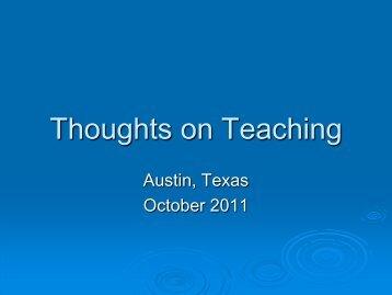 Thoughts on Teaching - Caahe.com