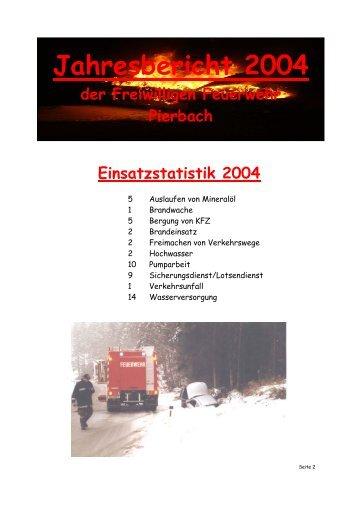 Jahresbericht 2004 - Feuerwehr Pierbach