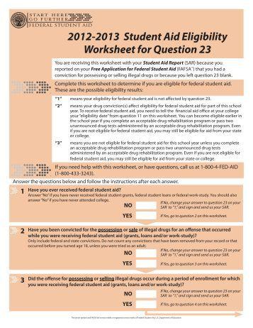 Drug Related Conviction Worksheet