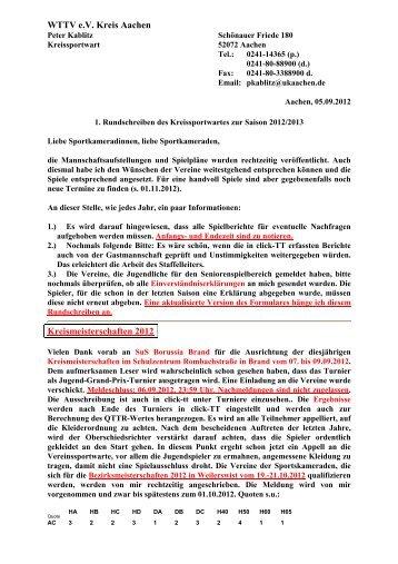WTTV e.V. Kreis Aachen Kreismeisterschaften 2012 - WTTV - Turniere
