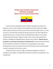 Phillips Exeter Academy Department of Modern Languages Winter ...