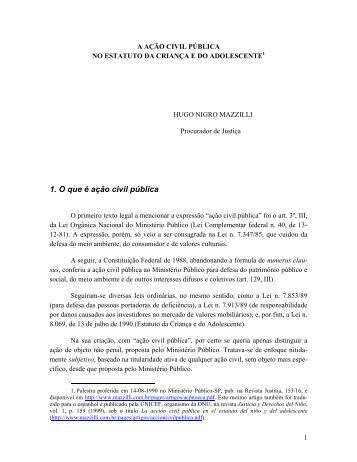 A ação civil pública no ECA - Mazzilli