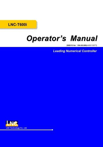 LNC-T600i Operator's Manual Leading Numerical Controller