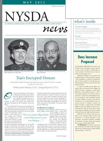 NYSDA News May 2013, Vol. 26 Issue 2 - New York State Dental ...