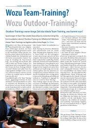 Wozu Team-Training? Wozu Outdoor-Training? - Come2Seminar