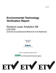 Environmental Technology Verification Report - Siemens Industry, Inc.