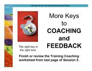 More Keys to COACHING and FEEDBACK