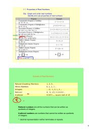 1.1 Properties of Real Numbers Obj: Graph and order real numbers ...