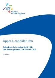 Sélection de la collectivité hôte des Etats généraux 2016 du CCRE
